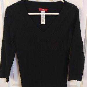 Anne Klein Sport Women's S Sweater Ribbed Black